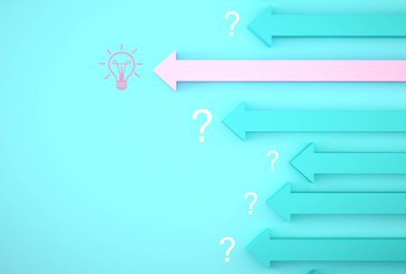 Abstract innovation of pink arrow graph on blue background. light bulb revealing an idea with question symbol. Business development to success and growing growth concept.