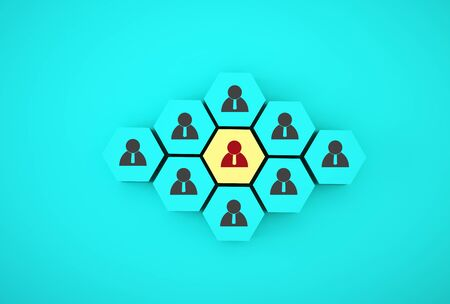 Concept creative idea of human resource management and recruitment business employee concept. Arrange yellow hexagon on blue background