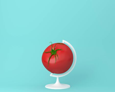 Globe sphere orb tomato concepts on pastel blue background. minimal idea food and fruit concept.
