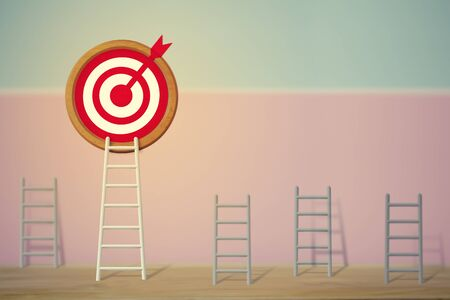 Goals concept: Longest white ladder and aiming high to goal target among other short ladders, depicts excellent performance and stands out from the crowd and thinks differently. Banque d'images - 143513974