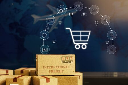 Paper boxes on notebook with icon customer network connection. Depicts transportation, international freight, global shipping, overseas trade, regional, or local forwarding.