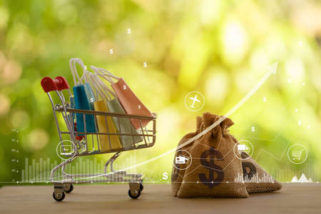 Shopping cart - trolley and paper shopping bags, US dollar bags on wooden table. Expense, shopping and financial and banking concept. 免版税图像