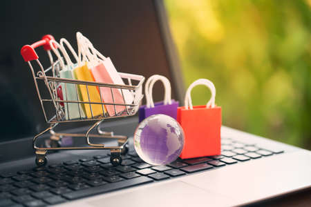 Paper shopping bags in a trolley or shopping cart on keyboard. Concept about online shopping that customers can buy everything from home or office and the messenger will deliver to the doorstep. Banque d'images