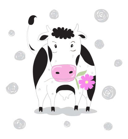 Cute cow cartoon with flower. Hand drawn style 矢量图像
