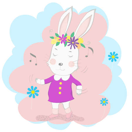 The cute baby rabbit wearing a pink dress and dancing with music. Hand drawn cartoon style 矢量图像