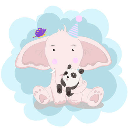 The cute baby elephant and panda. cartoon animal hand drawn style