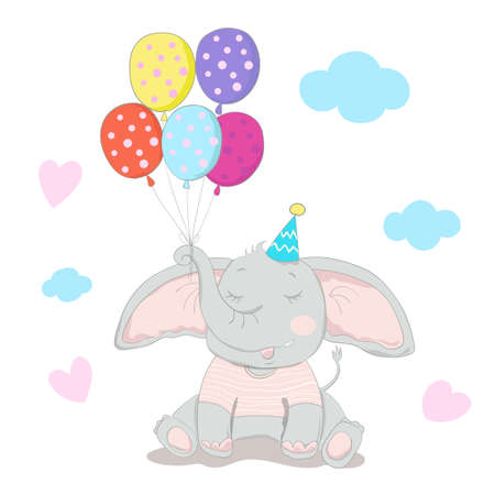Hand drawn style, Cute little elephant cartoon hold colorful balloon. 矢量图像