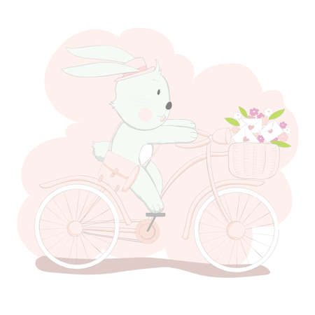 The cute baby rabbit on pink bicycle. Hand drawn cartoon style