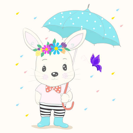Cute little rabbit cartoon hold umbrella in hand on a rainy day. Hand drawn style 矢量图像