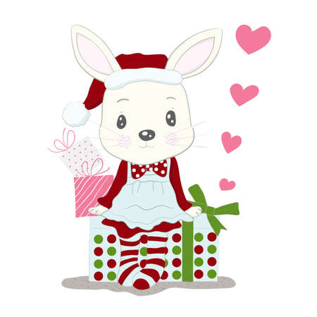 Cute little rabbit cartoon wear dress santa claus and gift box. Hand drawn style