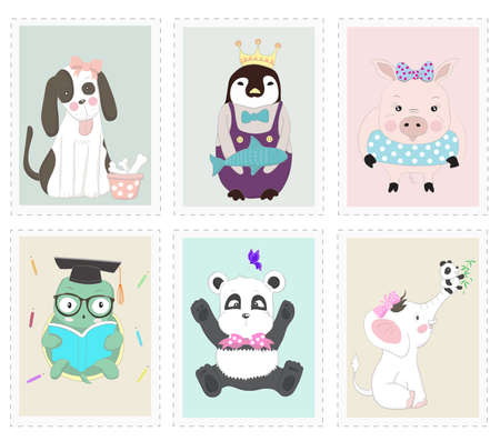The cute animal cartoon in picture frame. Hand drawn cartoon style 矢量图像