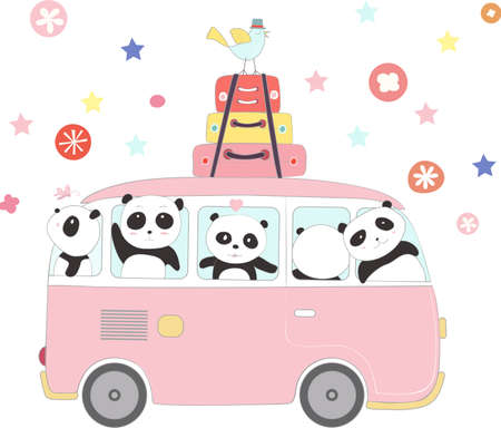 The cute panda baby to travel on holiday. cartoon sketch animal style