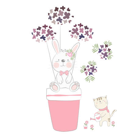 The cute baby rabbit and flower with cat. Hand drawn cartoon style 矢量图像