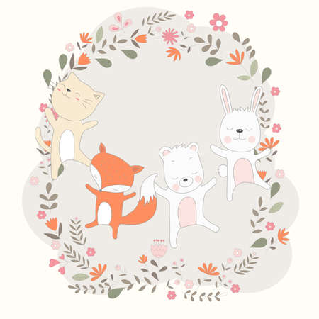 Hand drawn style, Cute baby animal cartoon it dance cheerfully
