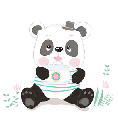 Cute little panda cartoon with camera. Hand drawn style