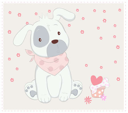 The cute baby dog. cartoon sketch animal style
