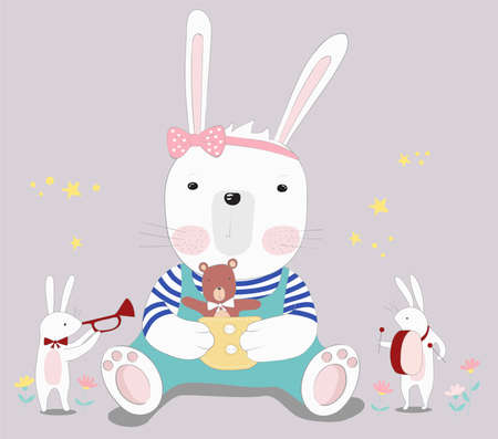 The cute baby rabbit with little bear. Hand drawn cartoon style