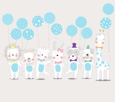 The cute baby animal with balloon. Hand drawn cartoon style 矢量图像