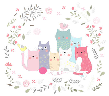 The cute baby cat and flower. Hand drawn animal cartoon style