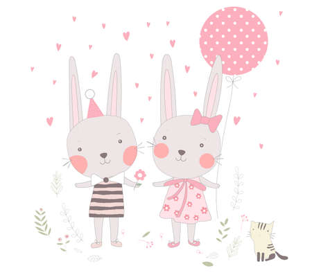 The cute baby rabbit sweetheart with balloon cartoon. Hand drawn cartoon style 矢量图像