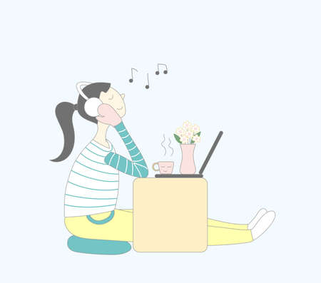 Happy girl listen to music and coffee time 矢量图像