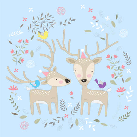 The cute baby deer with flower. Hand drawn cartoon style 矢量图像