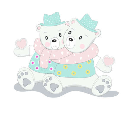 The cute baby bear character animal hand drawn cartoon style 矢量图像