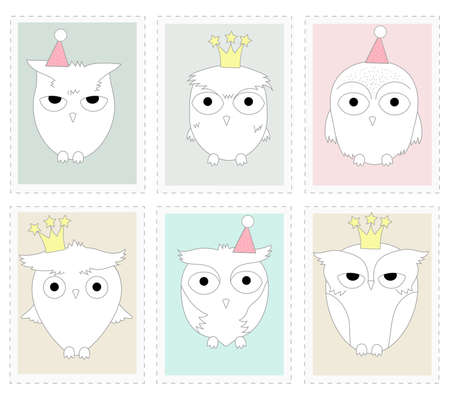 The cute owl animal cartoon in picture frame. Hand drawn cartoon style 矢量图像
