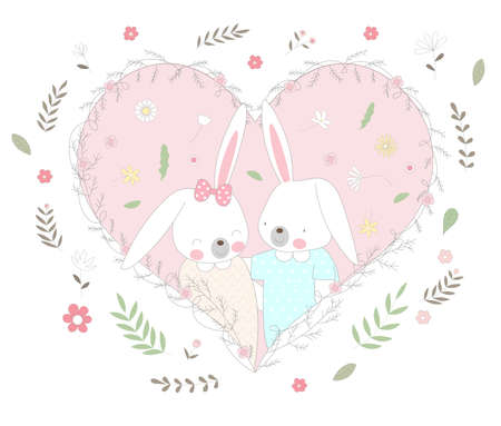 The cute baby rabbit character animal cartoon hand drawn style 矢量图像