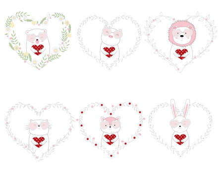 Hand drawn style cute animals holding red heart 矢量图像