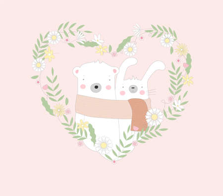 The cute baby rabbit and bear character animal cartoon hand drawn style