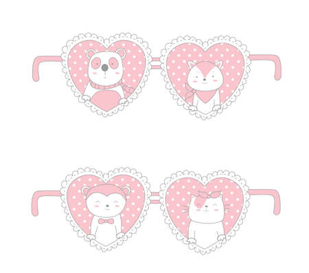 Valentine day design with cute animal cartoon hand drawn style