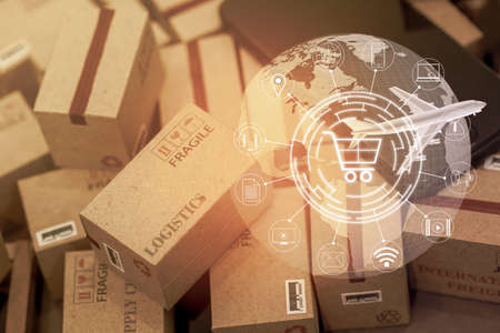 grouping Light brown small boxes and cell phone with a plane flies above world map. For ideas about transportation, international freight, global shipping, overseas trade, regional ,local forwarding. Imagens