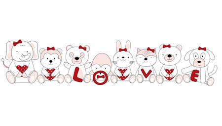 Hand drawn style. Cartoon sketch the cute posture baby animals with heart