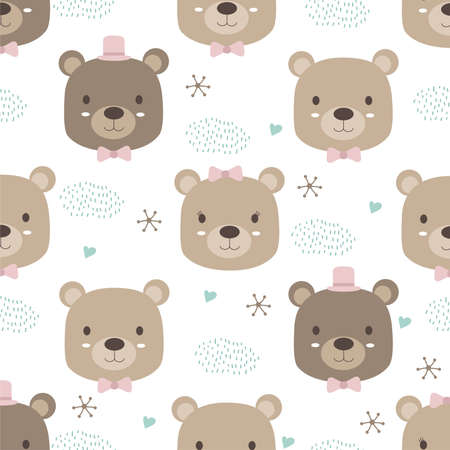 Hand drawn animal style. Cute bear cartoon doodle pastel wallpaper