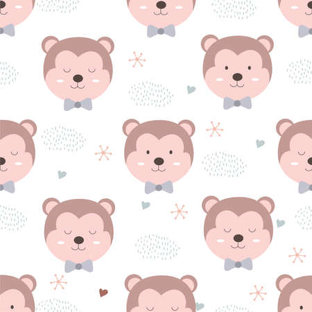 Hand drawn animal style. Cute monkey cartoon doodle pastel wallpaper;
