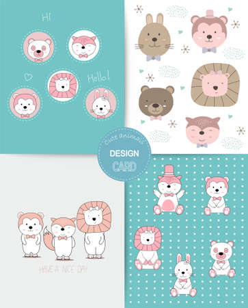 Hand drawn style. Cute animal cartoon colorful doodle animals seamless pattern 向量圖像