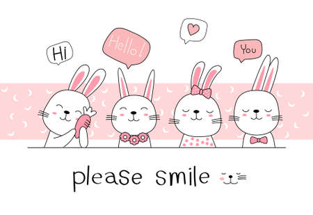 Hand drawn style. Cute rabbit bunny cartoon doodle pastel wallpaper 向量圖像