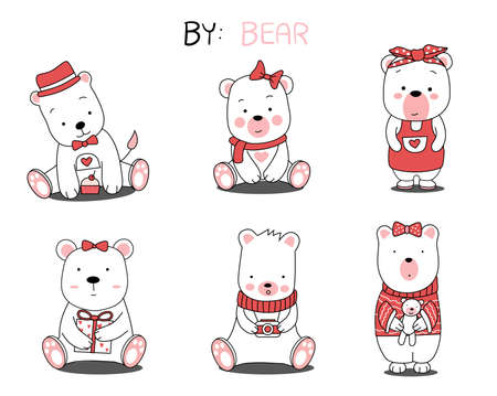 The cute bear animal cartoon on white background. hand drawn style