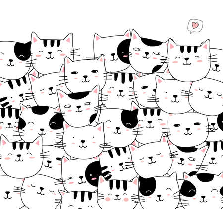 Hand drawn style white cute cat animal cartoon