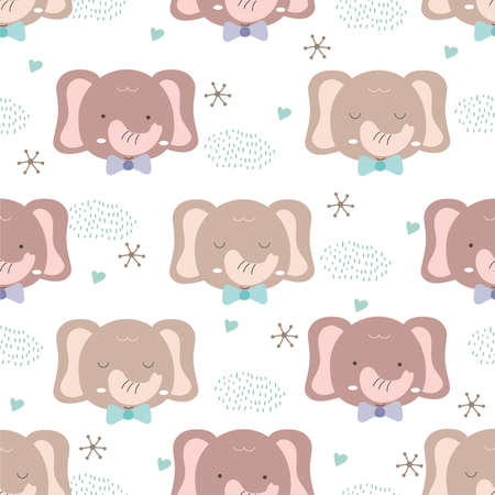 Hand drawn baby animal style. Cute elephant cartoon doodle pastel wallpaper 向量圖像