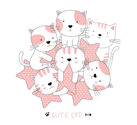 Hand drawn style. Cartoon sketch the cute baby cat animal with star 向量圖像