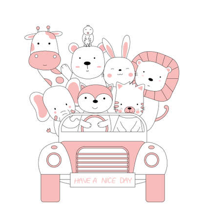 Hand drawn style. Cartoon sketch the cute posture baby animals 向量圖像