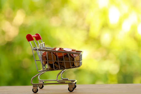 Shopping cart - trolley and coins on wood. Expense, shopping and financial and banking concept.