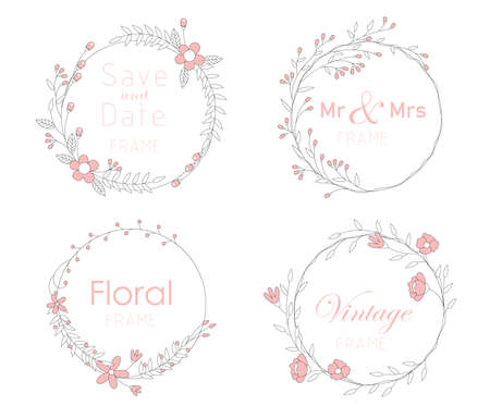 Set of card with floral frame,  Wedding ornament concept.