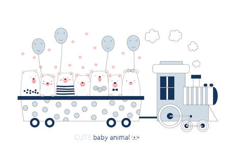 Cartoon sketch the cute bear baby animal on the train. Hand-drawn style. 向量圖像