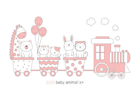 Cartoon sketch the cute baby animal on the train. Hand-drawn style. 向量圖像