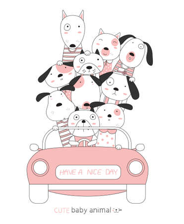 Cartoon sketch the dog cute baby animals with the pink car. Hand-drawn style. 向量圖像