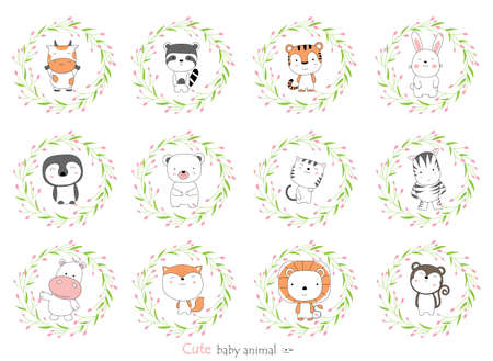 Cartoon sketch the cute baby animal with flower border. Hand-drawn style. 向量圖像
