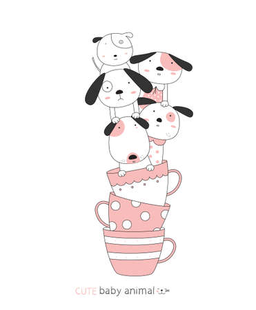Cartoon sketch the cute dog baby animal with a cup. Hand-drawn style.